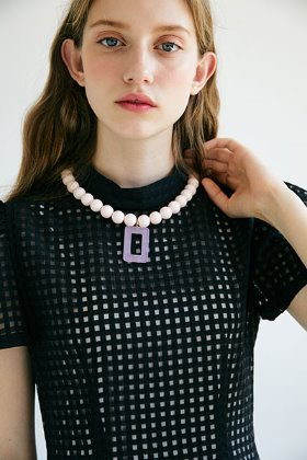 square pendant necklace (pink)